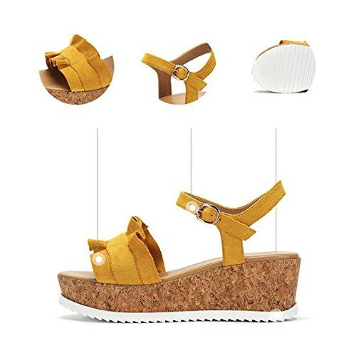 Yellow Femeninas Sandalias Casual Cómodas Summer Frill Ximu Bombas Zapatos New wqv6x4