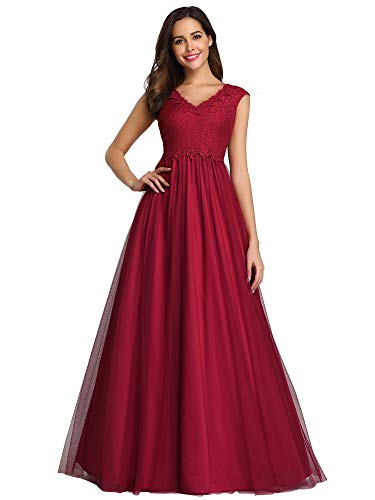 Women's A-Line V-Neck Floral Lace Evening Dress Cocktail Gowns Prom Dress Burgundy US14