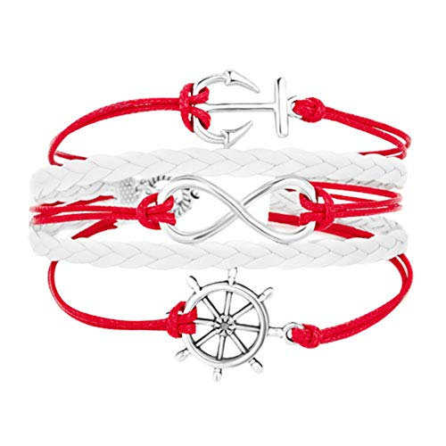 Infinite Memories Navy Sailor Anchor Boat Steering Wheel Infinity Voyage Icons Gypsy Boho Leather Wrap Charm Bracelet Ruby Red