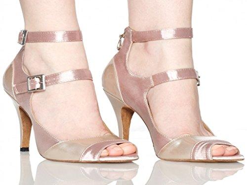 Aaron Womens Peep Toe Mid Heel Satin Salsa Tango Latin Monk Strap Dance Sandals US Size8