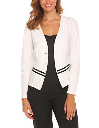 Burlady Women Blazer Wear to Work Suit Jacket for Work Business Office, White, Large by Burlady