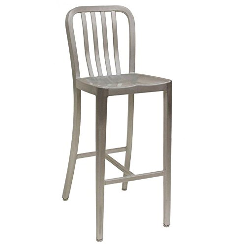 American Tables & Seating 57-BS Aluminum Slat Back Bar Stool, Solid Seat, No Arms, 14' x 15-1/2' x 42'