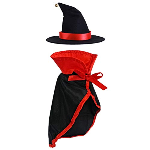 LAWOHO Pet Halloween Costume - Vampire Cloak and Wizard Hat for Holiday Cosplay Party Pet Apparel Suit Cute Kitten Puppy Cape Clothes Suitable for Small Cat Dog Parrots 2 Packs Red Black Decorations]()