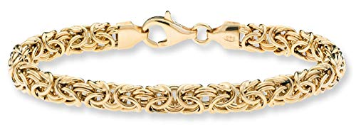 (MiaBella 18K Gold Over Sterling Silver Italian Byzantine Link Chain Bracelet for Women 7.25