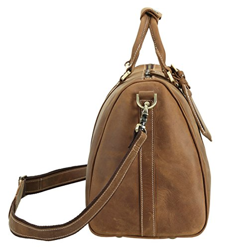 Polare Full Grain Leather Classic Duffel Bag Travel Gym Weekend Bag 17.3'' by Polare (Image #2)