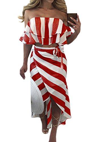 Deux t Chemisiers Fashion Irregulier de Manches Col Ensembles Longue Fte Morceaux Bateau Tops Sexy Crop Rouge Raye Blouses Femmes Jupes de Haut New Plage Courtes Court EHw0qx