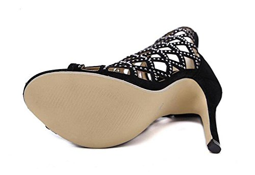 Stage Cone Black T Heeled Diamond Shoes Hollow Peep Black Heel Shoes Pumps Women Pumps Ankle Rome GLTER High Show Sandals Court Strap Ladies Toe YPaaB