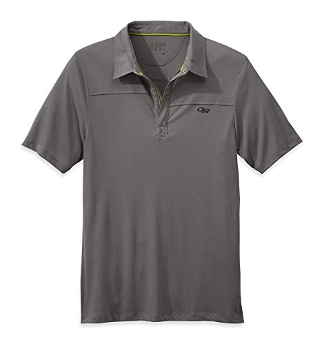 Outdoor Research Men's Sequence S/S Polo Pewter / Ember L (Mens Sequence Zip Tee)
