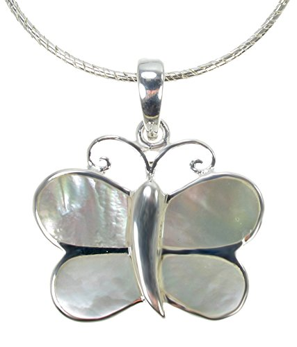 (925 Sterling Silver White Mother of Pearl Inlay Butterfly Pendant Necklace, 16