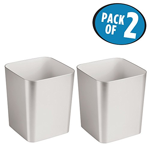 mDesign Square Shatter-Resistant Plastic Small Trash Can Wastebasket, Garbage Container Bin for Bathrooms, Powder Rooms, Kitchens, Home Offices - Pack of 2, Brushed Finish