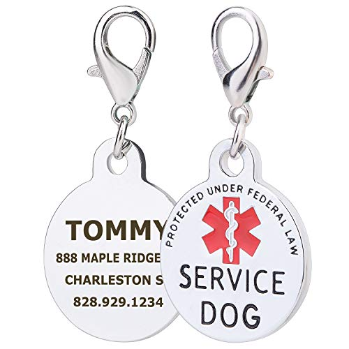 service dog engraved round id tag - 2