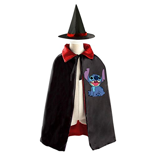 Jumba Jookiba Costume (DIY Stitch Lilo & Stitch Costumes Party Dress Up Cape Reversible with Wizard Witch Hat)