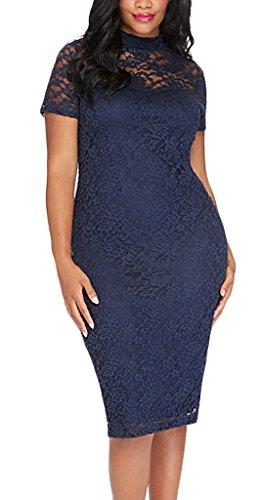 Bleistiftkleid Aus Spitze Damen Knielang Blau Elegant Cocktail Eng Kurzarm Rundkragen Durchsichtig Kleid Abendkleid