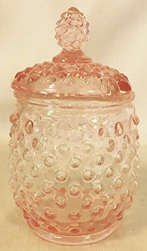 Hobnail Covered Honey Jar or Sugar Jar (Pink)