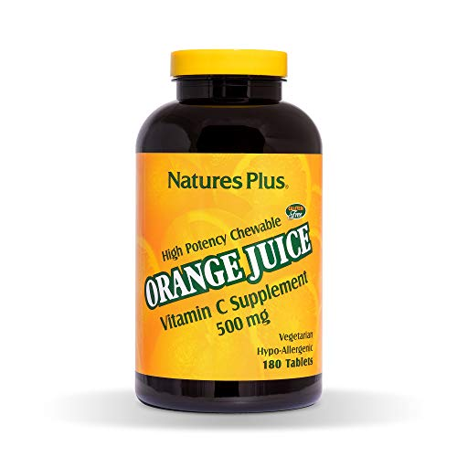 Natures Plus Orange Juice Vitamin C Chewable - 500 mg, 180 Vegetarian Tablets - High Potency Immune Support Supplement, Antioxidant - Gluten Free - 180 Servings ()