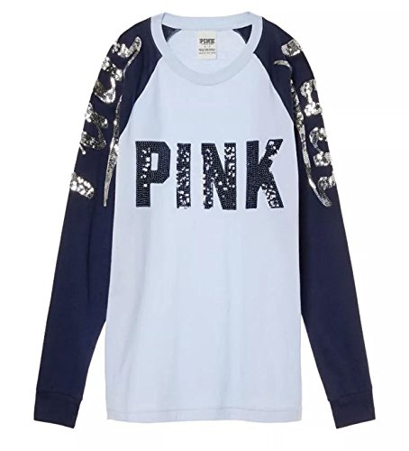 Victoria's Secret PINK NEW Campus Raglan T-Shirt Bling Blue Sz Small - Vs Pink Collection