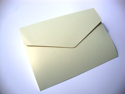 Cranberry Card Company A5 Pearlescent Pocketfold Blank Wedding Invites/Wedding Wallets - With Plain Cream 100Gsm Envelopes (50, Golden Haze) by Cranberry Card Company