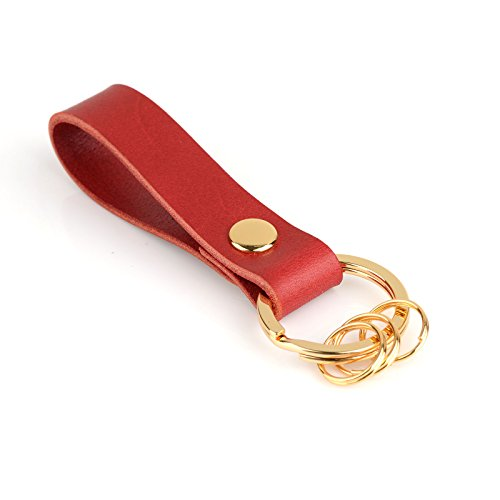 - Richbud Leather Keychain with 3 Detachable Gold Key Rings POB Handcraft Key Ring Lanyard Handmade (Red)