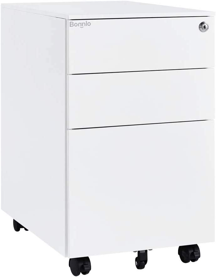 Bonnlo 3 Drawer Metal Mobile File Cabinet with Lock Rolling Steel Office Cabinet with drawers, Fully Assembled Except Casters, White