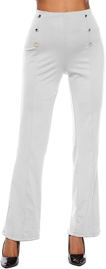 VEZAD Zipper Double-Breasted Loose Trousers Women Casual Solid Long Pants