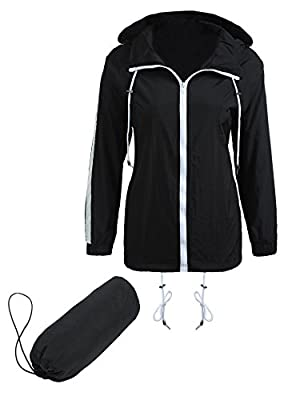 Dicesnow Womens Waterproof Drawstring Hooded Outwear Solid Hiking Rain Jacket S-XXL