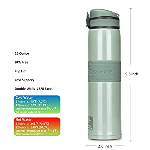 UZSPACE 4056 Super Cold Gray 16 Ounce Stainless Steel Vacuum Insulated Water Bottle for Kids, Students, Office Workers, Outdoors, Sports, Flip Cap, Non-slip, Wide Spout, BPA-Free ( Many Color Option )