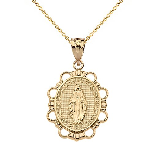 14k Yellow Gold Miraculous Medal Of Blessed Virgin Mary Pendant Necklace (Small), 18