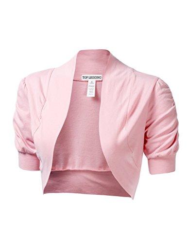 Pink Bolero (TL Women's Basic Comfy Versatile Short Sleeve Bolero Shrug Cardigan Junior Plus BPINK Small)