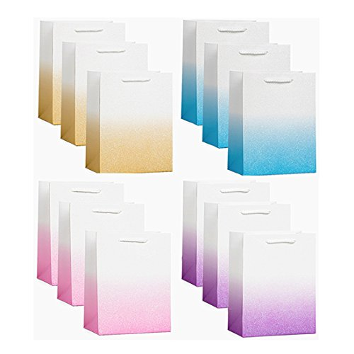 UNIQOOO 12 Pack Ombre Rainbow Gift Bags – Pink Purple Blue Gold Glitter Powder Gift Bag with Cord Handles – Perfect for Kids Birthday, Wedding, Bridal Shower, Unicorn Theme Party Favors -