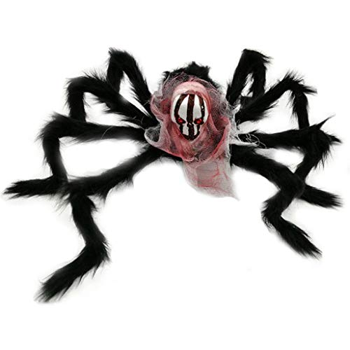 Dreamyth Halloween Bar KTV Bubble Simulation Ghost Head Plush Spider Home Garden Decor (B)