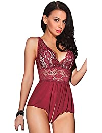 Sexy Lingerie Open Crotch Leotard Teddy Nightwear Lace Miniskirt Babydoll