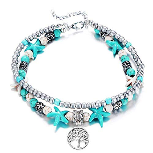 Stone Charm Multi (OSM Starfish Multi Layered Women Anklets Turquoise Stone Pendant Beads Boho Beach Sea Charm Foot Chain Anklet Tree of Life)