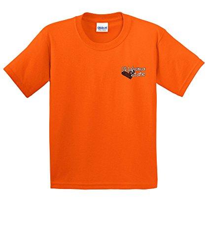 NCAA Oklahoma State Cowboys Girls Patterned Heart Short Sleeve Cotton T-Shirt, Youth Medium,Orange