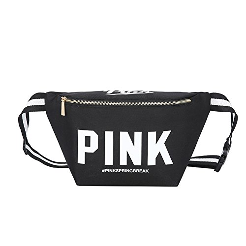 Homekit Pink Letter Fanny Pack Waist Bags Waterproof Nylon Beach Bag Women Purses Sports Handbags Outdoor Cosmetic Bags (black)