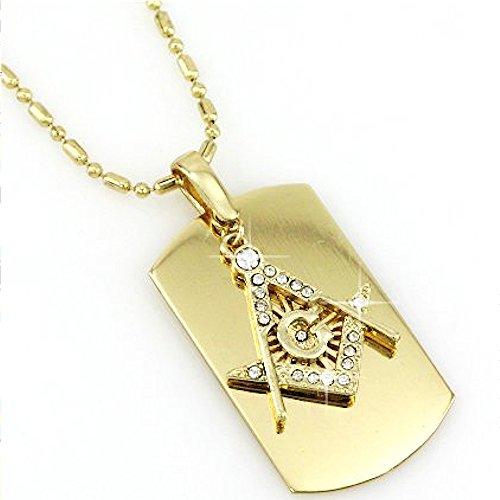 MASONIC MASONS-G Dog Tag Gold Finish Necklace with Rhinestones-FREE CHAIN (Necklace Name Mason)