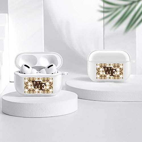 Wake-Forest Demon Deacons airpods case 3 Clear with Sparkly Design, Apple Bluetooth Headset case with Quick Charging Box