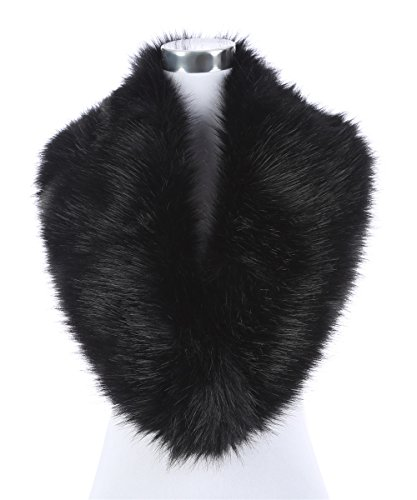 Lucky Leaf Women's Winter Fake Faux Fur Stole Scarf Wrap Collar Shawl Shrug for Wedding Evening Party (Black)