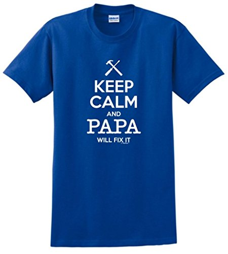 Keep Calm and Papa Will Fix It, Gift for Grandpa T-Shirt Large Royal