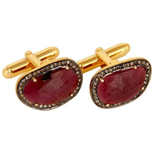 Kashmiri Ruby Gemstone 925 Silver Cuff link Ruby Emerald Birthstone Oval Shape Men/'s Party Wear Cufflinks PC10204