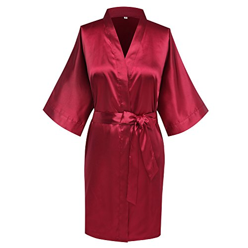 goodmansam Women's Bridesmaid Wedding Party Kimono Robes Satin Dressing Gown, Short,Blood RED,S