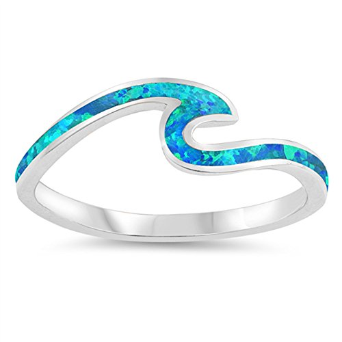 (Blue Simulated Opal Wave Dainty Thumb Ocean Ring .925 Sterling Silver Band Size 7)