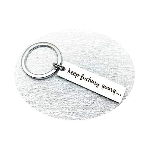 Epinki Stainless Steel Keychain Rectangle Tag Engraved Keep Fucking Going Silver Key Ring 45x10mm