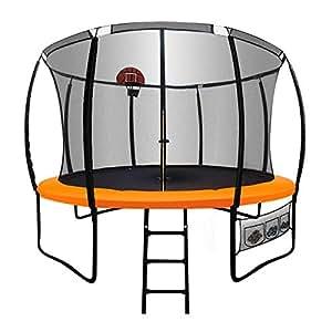 12ft Round Trampoline Basketball Set Safety Net Ladder Spring Pad KickDeck