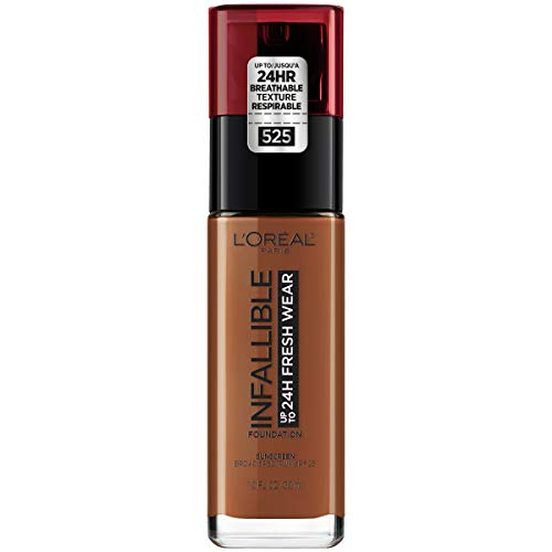 LOréal Paris Makeup Infallible up to 24HR Fresh Wear Liquid Longwear Foundation, Lightweight, Breathable, Matte Finish, Medium-Full Coverage, Sweat & Transfer Resistant, Deep Golden, 1 fl. oz.