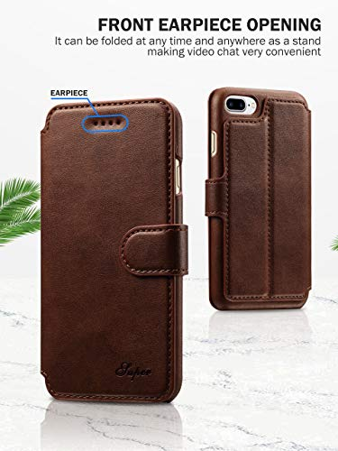 iPhone 8 Plus Case, iPhone 7 Plus Case, Pasonomi iPhone 7/8 Plus 5.5 inch Leather Wallet Case - [Slim Fit] Vintage Flip Case Cover with Stand Function & Credit Card Slots for iPhone 8/7 Plus 5.5 inch