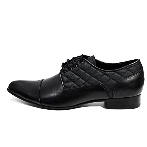 PeppeShoes Modello Biella 3 - Handmade Italiennes Cuir Pour des Hommes Black Chaussures Oxfords - Cuir de Vachette Cuir Souple - Lacer