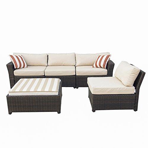 Caymus 5 Piece Rattan Wicker Sectional Sofa Set with Sunbrella Cushion Outdoor Garden Patio Furniture Set Coffee Beige