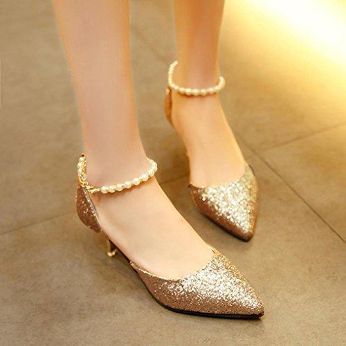 Ouneed Mujeres primavera otoño moda delgada tacones lentejuelas String abalorios zapatos de tacón alto Oro