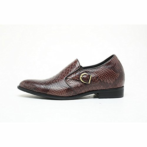 Chamaripa 2.76 Inch Taller Python Men Dress Pointy Toe Brown Dress Elevator Shoes US 9.5