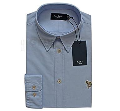 0d99ab19ea3893 Paul Smith Homme Oxford Logo Chemise Bleu/Blanc Coupe Ajustée Taille ...